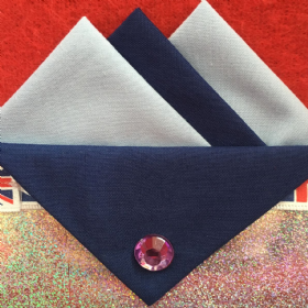 Light and Dark Blue Hankie With Dark Blue Flap and Pin